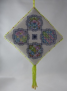 Beaded Blackwork Ornament - side one